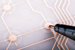 Printed circuit from keyboard Royalty Free Stock Photo
