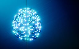 Printed circuits brain. Concept of artificial intelligence, deep. Learning, machine learning, smart autonomous robotic technology on blue background. Suitable Stock Image