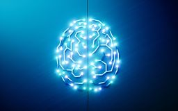 Printed circuits brain. Concept of artificial intelligence, deep Royalty Free Stock Photos