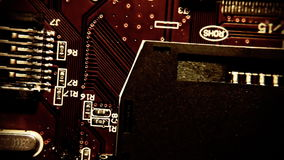 Printed circuits retro vintage. Fast montage sequence of printed circuits. Macro close-up shot. Vintage retro filters applied stock footage