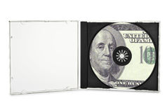 Printed compact disc. In open case. (with clipping path Stock Images