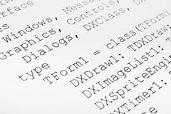 Printed computer code Stock Image