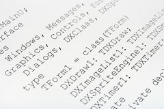 Printed computer code Stock Photo