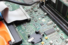 Printed computer motherboard board with microcircuit Stock Image