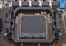 Computer motherboard, CPU socket Stock Photo