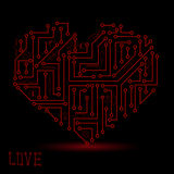 Printed dark red electrical circuit board heart symbol eps10 Stock Photos