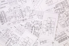 Printed electrical drawings Royalty Free Stock Image