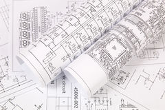 Printed electrical drawings Royalty Free Stock Photos