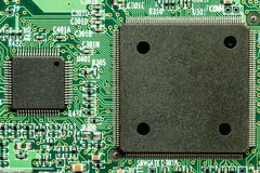 Printed electronic circuit board with microprocessor Stock Photo