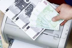 Printed euro. home printer. concept, crime, fake money. Printed euro. home printer. concept crime fake money stock images