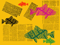 Printed fish. Abstract yellow illustration with colored printed fish, and newspaper fragments Stock Images
