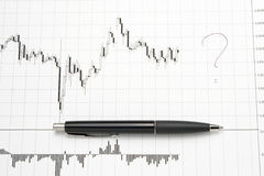 Printed forex chart with pen - uncertainty. Forex chart printed on white paper with situation of uncertainty and question mark that shows unkniwn future Stock Photo
