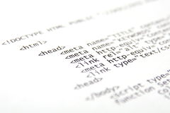 Printed html code Stock Photography