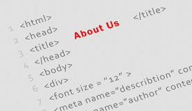 Printed html code for About us page Stock Photo