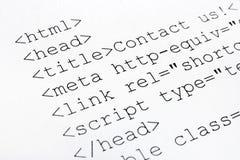 Printed internet html code Royalty Free Stock Photo