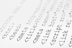 Printed internet html code Stock Photography