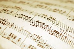 Printed music. Old sheet printed classical music with blurry edges stock image