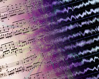 Printed music and waveforms Stock Images