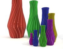 Printed object vase set 3d illustration isolated Royalty Free Stock Photo