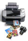 Printed photos. Printer, camera and printed photos royalty free stock photos