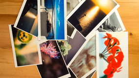 Printed pictures. Collage of printed pictures or paper photos Stock Photography