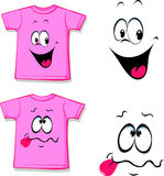 Printed pink T-shirt - funny face - vector Royalty Free Stock Image