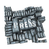 Printed press. Word press in print letter cases Stock Photography