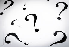Printed question marks on the white paper Royalty Free Stock Photo