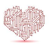 Printed red electrical circuit board heart symbol eps10 Royalty Free Stock Photo
