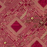 Printed red industrial circuit board pattern Royalty Free Stock Photography