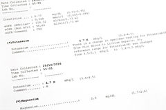 Printed result paper of Potassium, Magnesium Levels in Blood. La Royalty Free Stock Photography
