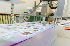 Printed sheets on folding machine into printing plant. Folding machine in a print shop Royalty Free Stock Photography