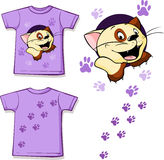 Printed T-shirt - Cute cat - vector Royalty Free Stock Photography