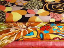 Printed textiles. Colored print textiles for sewing Stock Images