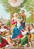 The printed traditional cathlic image of Holy Family Stock Photos