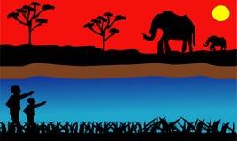 PrintElephant nella savanna africana al tramonto Palma dum, acacia Siluette degli animali e delle piante Paesaggio realistico di  royalty illustrazione gratis