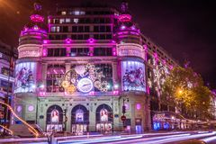 Printemps galleries in Paris at Christmas. Printemps shopping galleries with Christmas decorations at night Stock Images