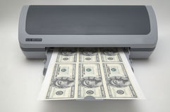 Printer with 1000000 dollar bills. Isolated Stock Image