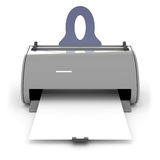 Printer. Gray printer with a clean sheet of paper Stock Image