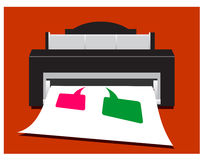 Printer. Illustration of a printer printing colorful speech bubbles royalty free illustration