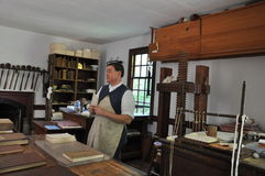 Printer and Binder in Colonial Williamsburg, Virginia Stock Images