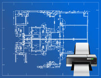 Printer blueprint illustration Stock Image
