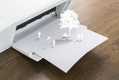 Printer with children play on paper crafts Royalty Free Stock Photography