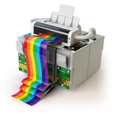 Printer and CMYK cartridges for colour inkjet printer isolated o Stock Image