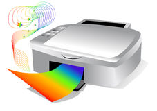 Printer with colored paper Royalty Free Stock Photo