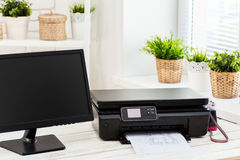 Printer and computer. Office table royalty free stock image