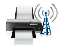 Printer and connection tower Royalty Free Stock Image