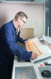 Printer at control panel of offset machine stock photo