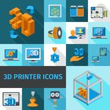 Printer 3d Icons. Printer digital 3d technology decorative icons set isolated vector illustration Royalty Free Stock Photography