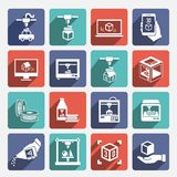 Printer 3d Icons Stock Images